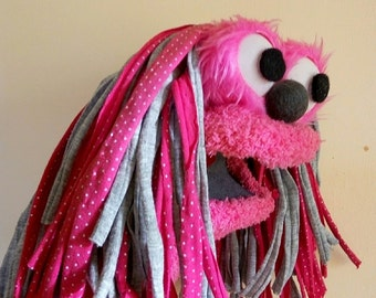 pink sock puppet, hand puppet, moving mouth puppet, therapy and educational puppet