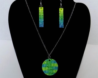 Shades of Blue and Green Polymer Clay Handmade Jewelry Set