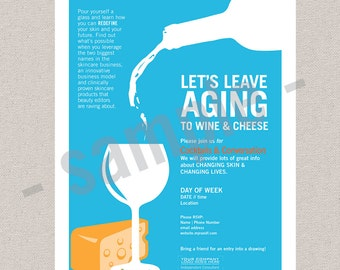 BBL flyer //  lets leave aging to wine & cheese // EDITABLE instant download PDF // skincare // Rodan+Fields inspired