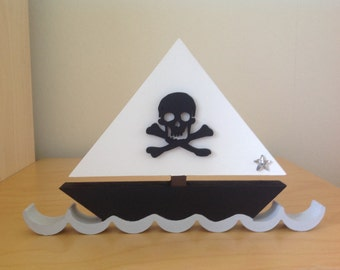 Hand Painted Wooden Pirate Boat