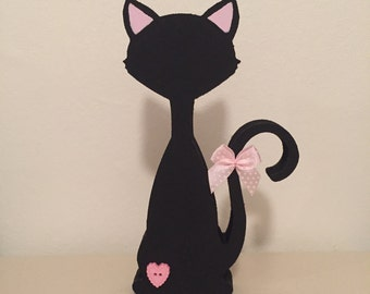 Hand Painted Wooden Black Cat