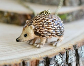 Hand Painted Porcelain Short-Eared Hedgehog Necklace, Antique Bronze Chain, Vintage Style Hedge Hog, Ceramic Animal Pendant & Chain (CA073)