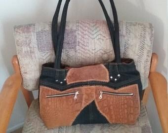 Handcrafted Scrap Denim  & Suede Bag