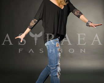 Lace Black Top, Casual Top, Woman Black Blouse, Casual Tunic, Open Black Shirt by Astraea-3006