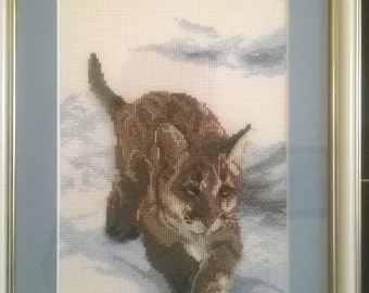 "Cross stitch picture ""Bobcat"""