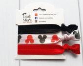 SALE Mickey Mouse Hair Ties Set, Disney hair ties, Mickey party favours, Creaseless hair ties, Red & Black Mickey Hair Ties, Mickey Birthday