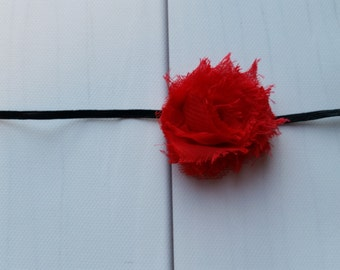 Red Shabby Chic Flower on Skinny Elastic Headband