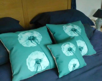 Illustrated Teal Dandelion Cushion