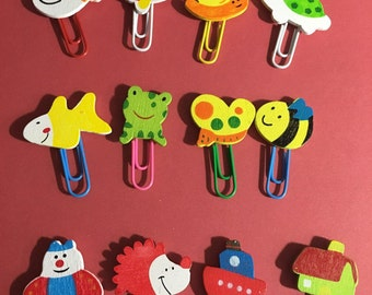 Kawaii cute stationery supplies; Cute Animal Wooden Paper Clips 4 PACK assorted
