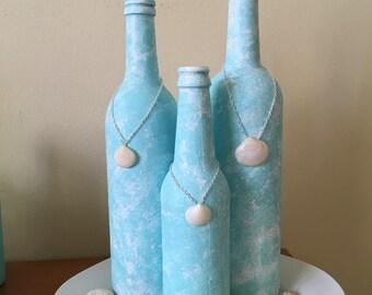 Blue/white painted bottles- set of 3
