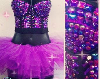 Purple rhinestoned Rave Crop Top, Bling, Rhinestone Corset, Crop Top,Sequinsed Top,Rave Top,Dazzled Crop Top,Rave outfit, Sequuins Crop top