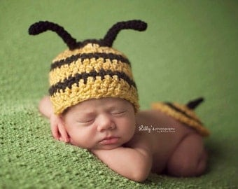 Made to Order Baby Honey Bee Hat and Bottom Cover Set