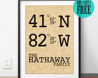 Personalized Housewarming Gift, GPS Coordinates Sign, Longitude Latitude, Newlywed Gift, Home Decor, Rustic Wall Art, Burlap Print, CM14