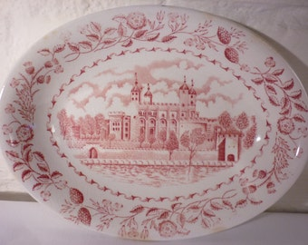 """RARE W H Grindley porcelain china dish """"Scenes of London"""" - Tower of London"""