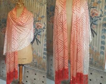 Beautiful 1920's 'Ombre' Silk Shawl