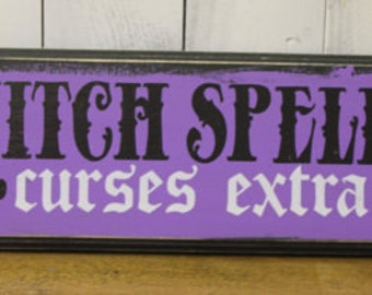 WITCH SPELLS Sign /Curses Extra/wood sign handpainted/Halloween Sign/Witch Sign/Halloween Decor/Wood Sign/Black/Purple/Lavender/Sale