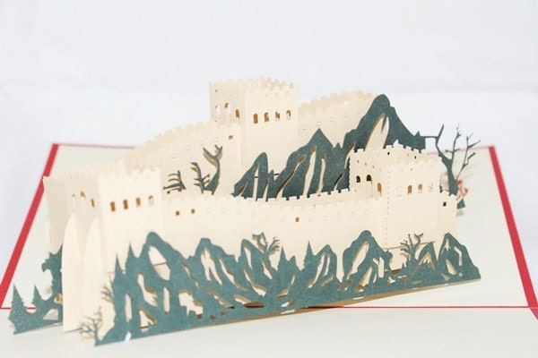 3D PGreat Wall Of China Pop Up Card, Pop Up Greeting Ca