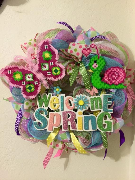 Spring Wreath, Welcome wreath, Wreath, Perler beads, Spring, Front Door Wreath, Easter wreath, Spring decor, Deco mesh wreath, Home Decor