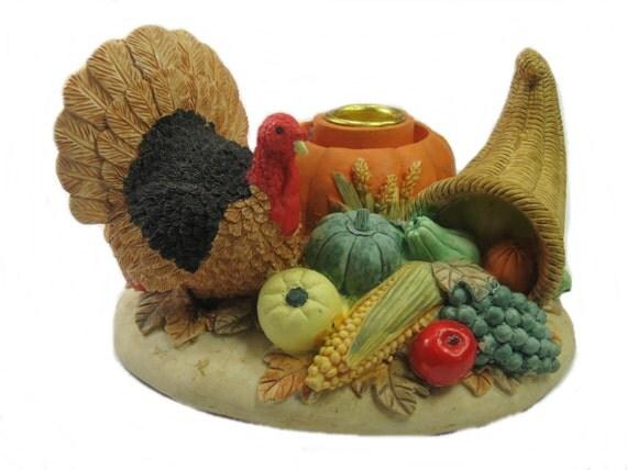 Vintage Thanksgiving Centerpiece : Thanksgiving candle holder turkey vintage