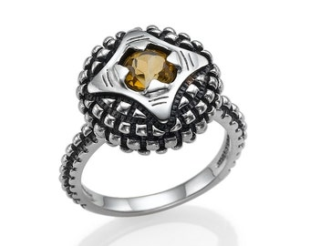 Sterling Silver Ring Citrine Modern Perspective