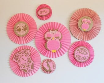 It's A Girl Owl Themed Rosettes