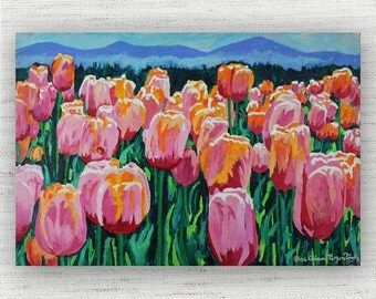 Pink Floral Painting Print Canvas Art from Tulip Fine Art Canvas Painting - Pink Floral Tulip Art Print
