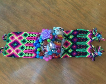 Woven Worry Doll and Frida Kahlo Bracelet