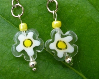 Daisy Roots earrings with glass flower beads.  By Little Mechanical Bird