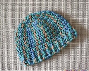 0-3 months Baby Boy Beanie, Handmade, Green, Blue Multi Colour