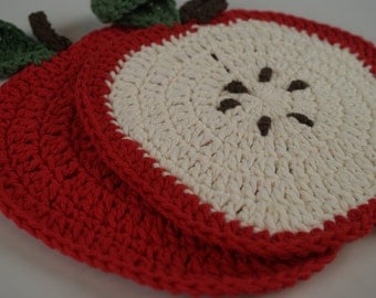 2 piece - Apples Set (red or green)-Teacher Gift/Mug Rug/Table Decoration/Dishcloth