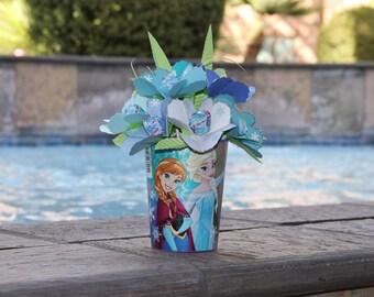 Frozen Elsa and Anna Floral Arrangement - Paper Heart-Shaped Lollipop Flowers in Plastic Cup