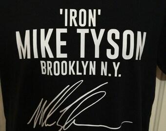 Mike Tyson Autograph Boxing Custom T shirt Black S -XXL