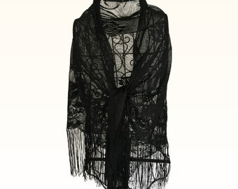 Vintage 1970s Black Lace Flowered Shawl with Fringes