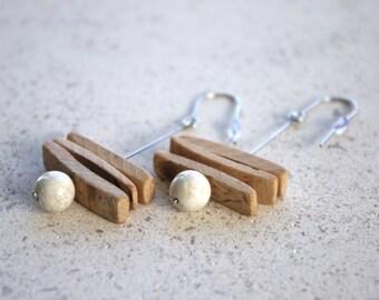Earrings long/loops wooden coconut/jewelry wood/jewelry gift for her zen/idea / making artisanal French/handmade