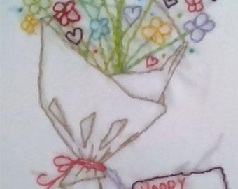 Happy Birthday Card, Flower Birthday Card, Flower Bouquet, Hand Stitched Card
