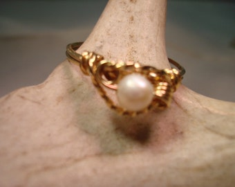 Pearl Ring, Freshwater Pearl Ring, 14K Gold Wire Wrapped Ring, Sterling Silver Ring, Wedding Jewelry, Native American Made #1