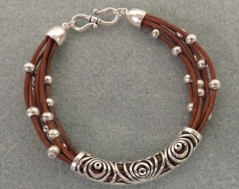"""Brown Leather Bracelet w/ Ornate Silver Tube, Beads, and """"S"""" Hook Clasp"""