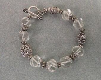 Rare Spiral Quartz Crystal / Bali Silver Bracelet