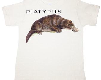 Boys Organic Platypus Tee Shirt, great vintage animal, wildlife, t-shirt, Tshirt, any size, acmekidco