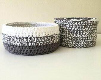 Crochet Nesting Baskets, Round Nesting Basket Set, Round Crochet Basket, Cotton Basket, Grey Baskets, Nursery Storage