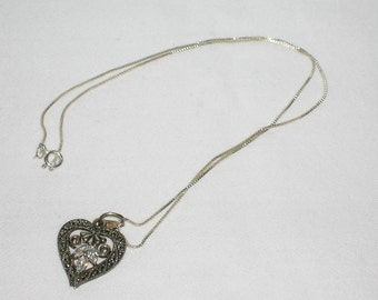 Vintage Sterling Silver Heart Pendant w/ Stones & Sterling Silver Chain