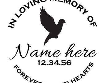 Custom Memorial Flying Dove Vinyl Decal