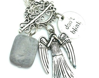 "Weeping Angel Dont Blink Doctor Who Inspired Beaded Charm 23"" Chain Necklace Silver Tone"