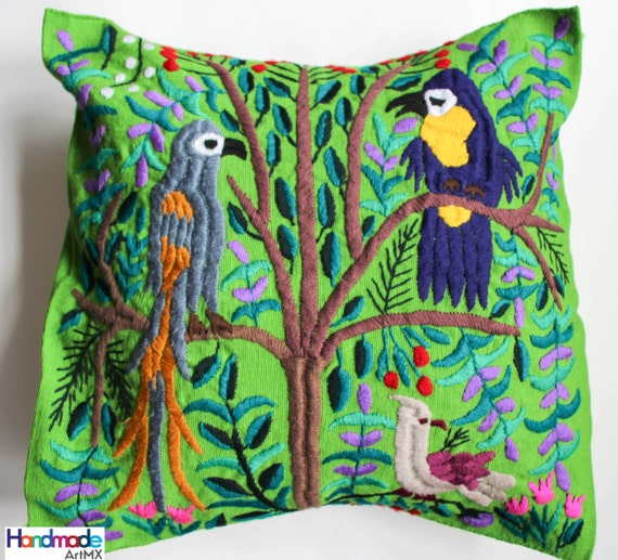 Hand embroidered green cushion pillow cover mexican