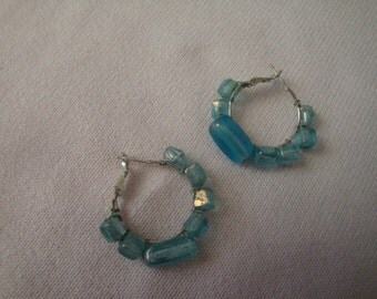 Hoop Earrings with Wire-Wrapped Aqua Beads