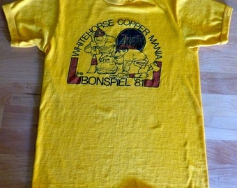Vintage 1981 Whitehorse Copper Mine Mania Bonspiel Yukon T shirt Med