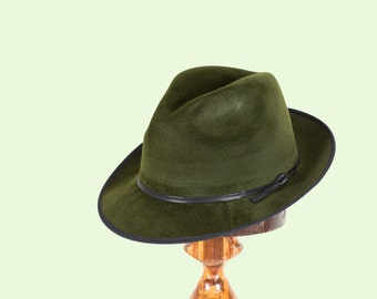 Green trilby/Wide Brim Mens Fedora Hat/Fur Felt Hat