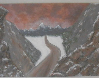 Road to Colorado Mountains Painting Modern Abstract Textured Original Art Handmade