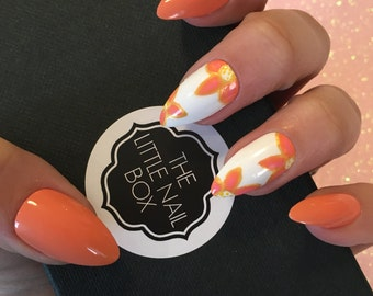 Hand painted peach flower stiletto press on nails | stick on nails | glue on nails | false nails | fake nails