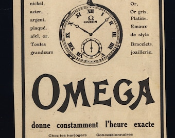Original Vintage 1924 OMEGA WATCH Advert (4 3/8'x6' - 11x15 cm)